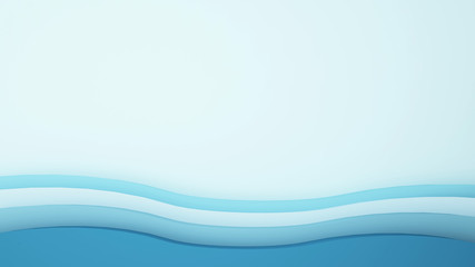 Artwork blue wave and empty space for add message - 3D Illustration