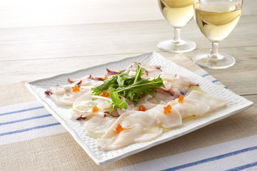 Printed roller blinds Appetizer タコのカルパッチョ (octopus carpaccio)