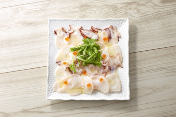Photo on textile frame Appetizer タコのカルパッチョ (octopus carpaccio)