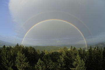 Double rainbow, view eastwards, Hutwisch viewpoint, Lower Austria, Austria, Europe
