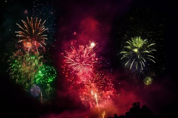 Fireworks, solstice celebrations, Riedenburg, Lower Bavaria, Bavaria, Germany, Europe