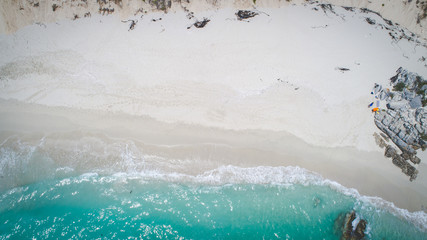 Aerial view over the rocks in the Walkerbay reserve in Gansbaai in the Western Cape of South Africa Wall mural
