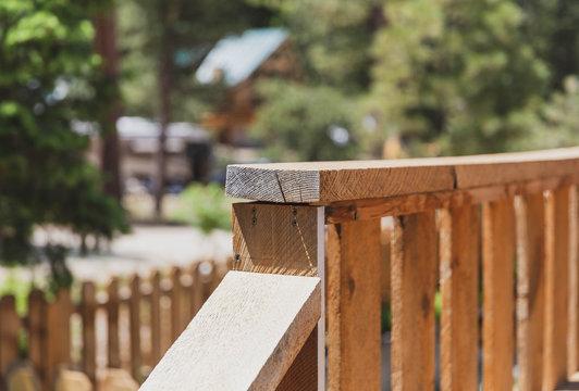 Details of Old Wood Deck Railing