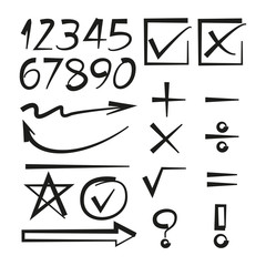 math sign, arrows and number
