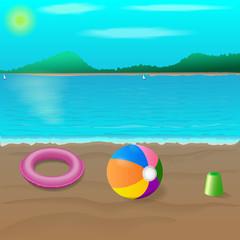 beach, sea, recreation, children's toys.