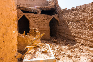 The interior of the abandoned traditional Arab mud brick house, Al Majmaah, Saudi Arabia