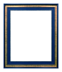 Antique gold and blue frame isolated on the white background