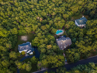 Aerial photo of the houses in the forest