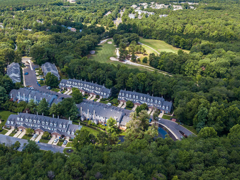 Aerial photo of the townhouse community in the forest