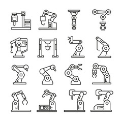 robotic arm in manufacturing process icons, bold line icons