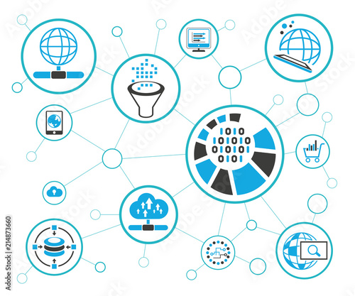 analytics data icons and network diagram on white background