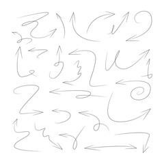 hand drawn arrows, scribble line arrows
