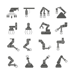 robot icons set, robotic arm in manufacturing process icons