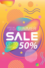 Summer sale banner holographic gradient color Banner Template Background. Vector Illustration