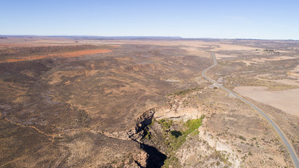 Aerial views over the waterfall outside Nieuwoudtville in the Northern cape of south africa
