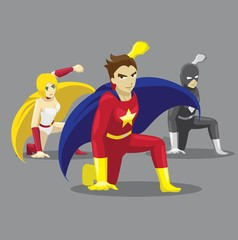 Superhero Set Poses Cartoon Vector Illustration 12 Landing