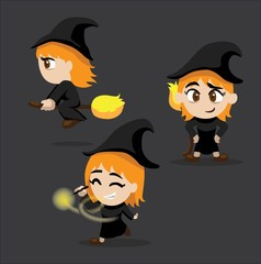 Halloween Character Set Cute Witch Cartoon Vector Illustration