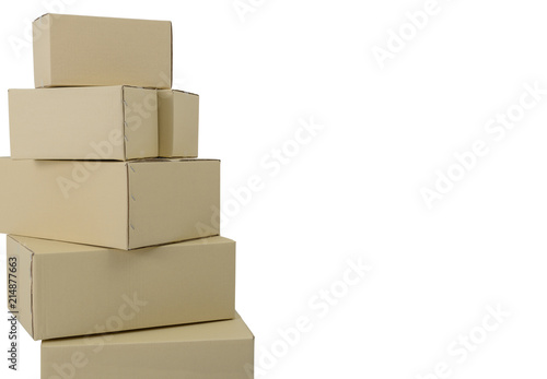 boxes in different sizes stacked boxes isolated on white background