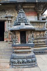 Miniature shrines with Bhumija style superstructure. Swarg Dwara, Door to Heaven, Chennakeshava temple, Belur, Karnataka.