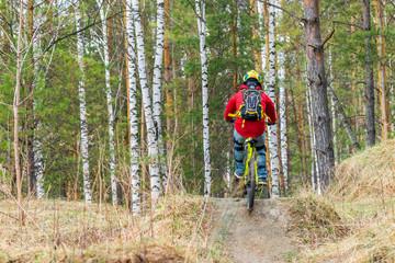 Russia, Novosibirsk - May 1, 2018: Downhill mountain biking