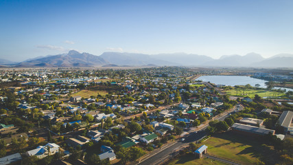 Aerial view over the town of Worcester in the Western Cape of South Africa