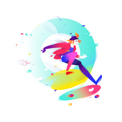 Illustration of a cartoon skateboarder. A skater in the air. Image is isolated on white background. Flat fashion illustration for banner, print and website. Mascot company.