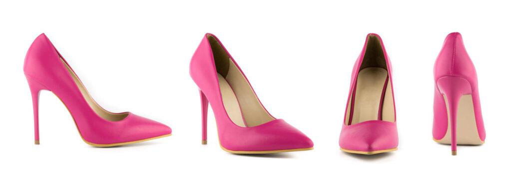 Stiletto woman heel shoes set front back cross side