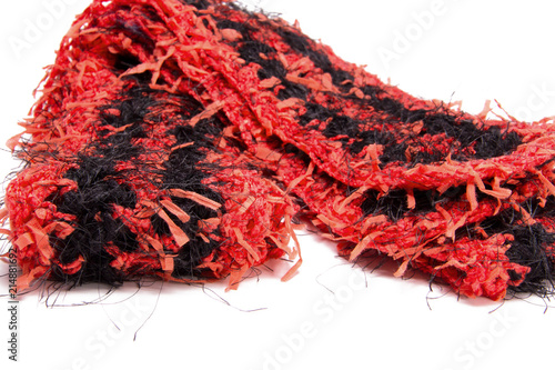 Crochet Fun Fur Black And Red Scarf Striped Pattern Soft Fluffy