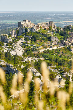 Provencal village Les Baux de Provence and view of Sarragan  sto