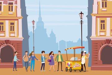 Ice cream seller, cart, outdoor composition, city, with male and female characters, teenagers standing in line for ice cream, urban scene, vector, illustration, cartoon style, isolated
