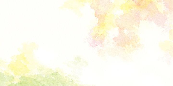 森 新緑 秋 水彩イラスト