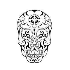 Mexican Skull Triskele Celtic Cross Tattoo