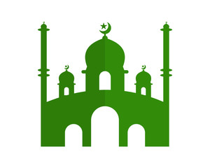 green mosque icon islam muslim religion spirituality religious image vector icon