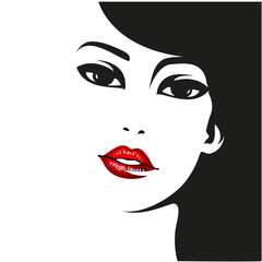 Woman face. Vector fashion portrait