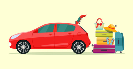 Suitcase, bags and other luggage next to the trunk of the car. Vector flat style illustration