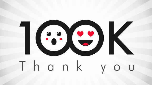 Thank you 100 000 followers logotype. Congratulating black and white colours networking thanks, net friends abstract image, customers 100 000k sign, % percent off discount. Isolated smiling people.