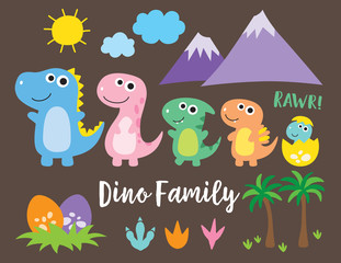 Cute dinosaur family, dinosaur baby, egg and footprint vector illustration.
