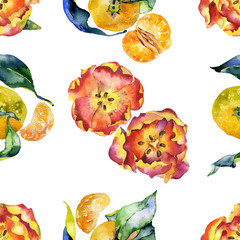 Red, spring, first tulips. Beautiful flowers and juicy, tasty, fresh tangerines. Watercolor. Illustration