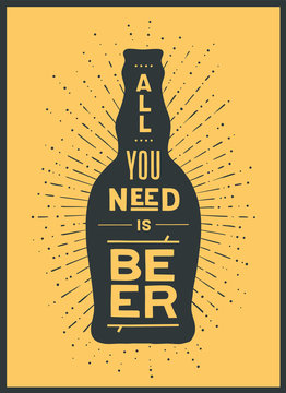Beer. Poster or banner with beer bottle, text To Beer Or Not To Beer and vintage sun rays sunburst. Colorful graphic design for print, web. Poster for bar, pub, restaurant. Vector Illustration