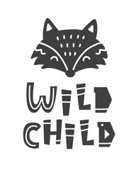Wild child. Scandinavian tribal poster with hand drawn letters