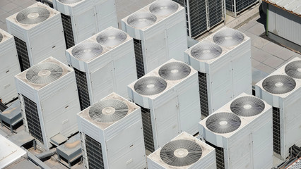 Air condition system facility outdoor units heat pump on roof of building