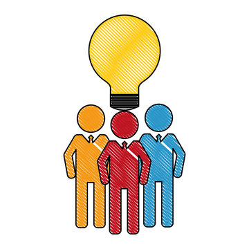 business men team work silhouettes with light bulb