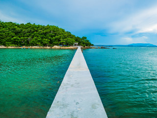 Concrete bridges on the ocean with idyllic ocean and beautiful Sky in vacation time,Holiday in the sea,Summer concept