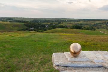concept egg dragon handmade on white marble stone background hills grass village