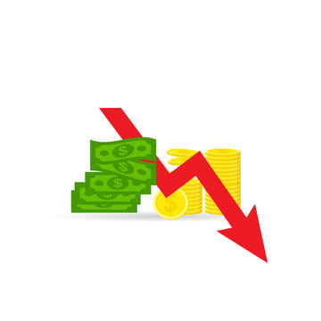 Money loss vector illustration, concept of financial crisis, bad economy, market fall, bankruptcy, budget recession, investment expenses, flat cartoon cash with down arrow stocks graph