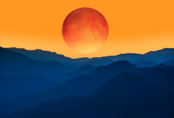 """Big bloody red moon- Lunar eclipse """"Elements of this image furnished by NASA """""""