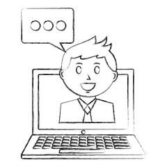 laptop computer with businessman and speech bubble