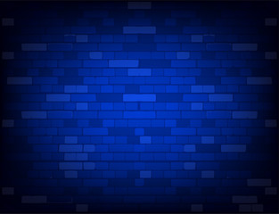 Dark blue brick wall. Realistic background
