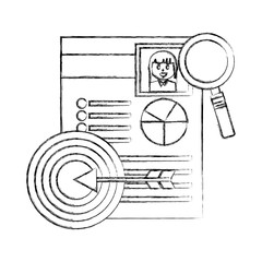 curriculum vitae with magnifying glass and target