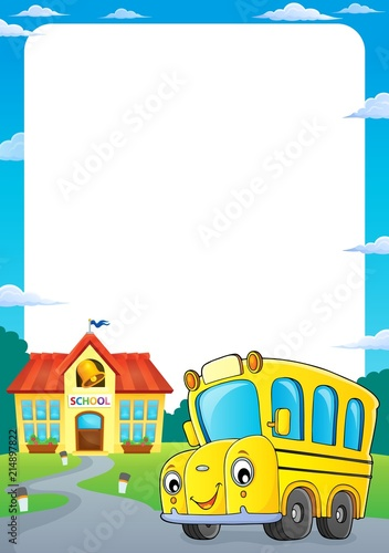 School Bus Thematics Frame 1 Stock Image And Royalty Free Vector